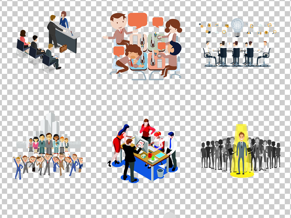 0736手绘彩色卡通商务人群装饰元素面抠
