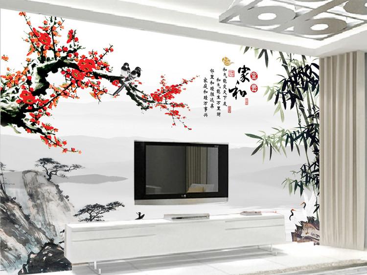家和富贵梅花中式电视背景墙