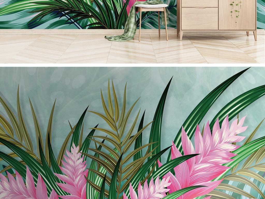 ins北欧风格热带植物背景墙壁纸壁画