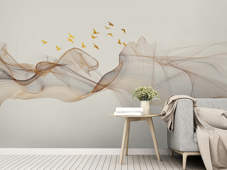 新中式抽象水墨山水装饰画电视背景墙