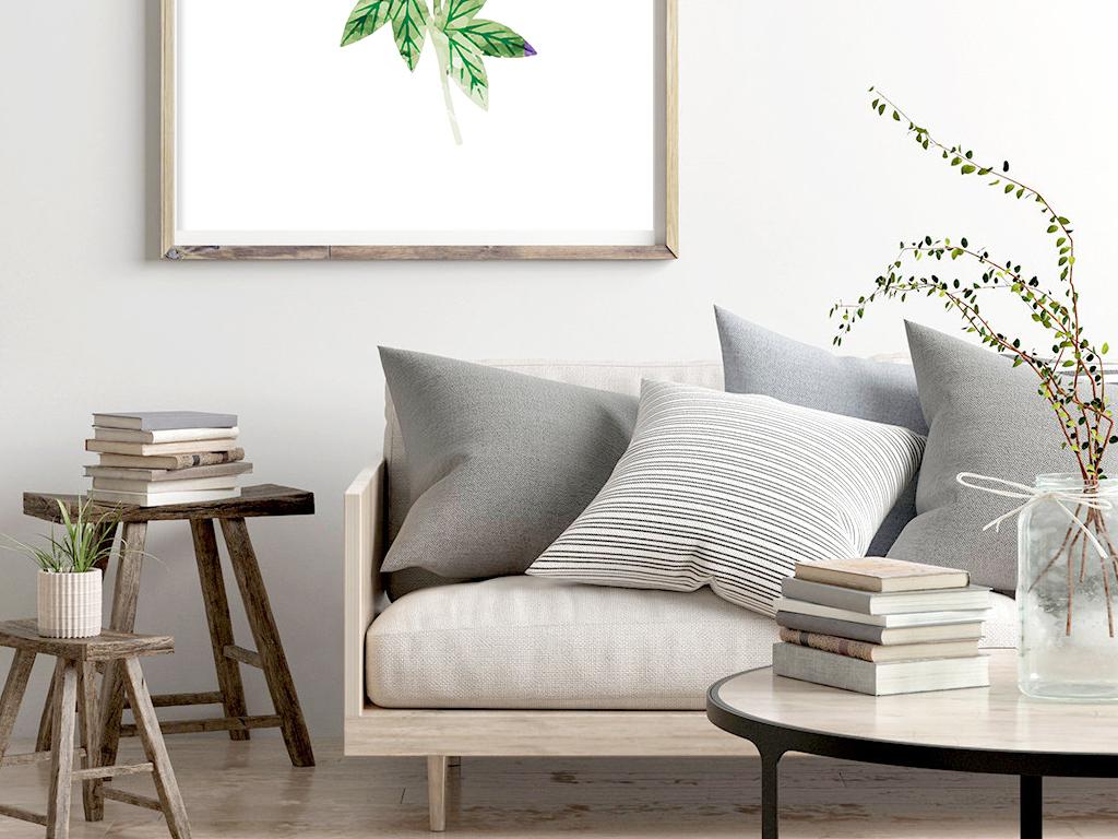 北欧现代简约水彩手绘清新植物叶子卧室客厅装饰画