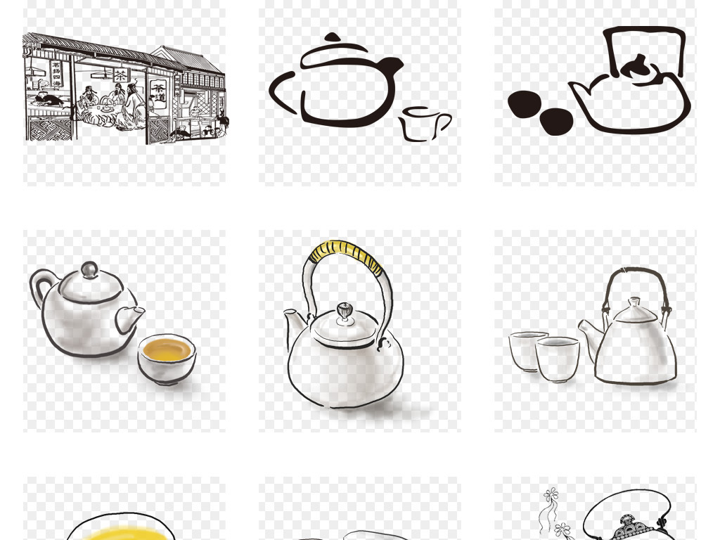 卡通手绘茶壶茶叶茶文化茶具茶园png海报素材