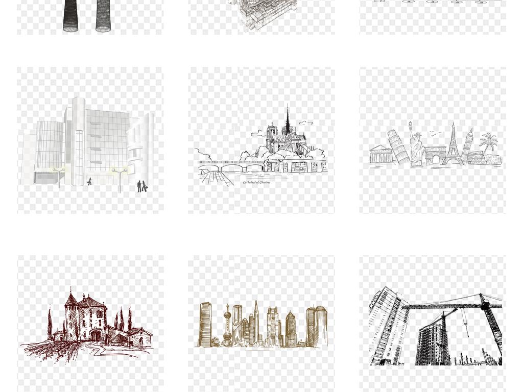 城市建筑都市房子手绘线条素描速写png素材