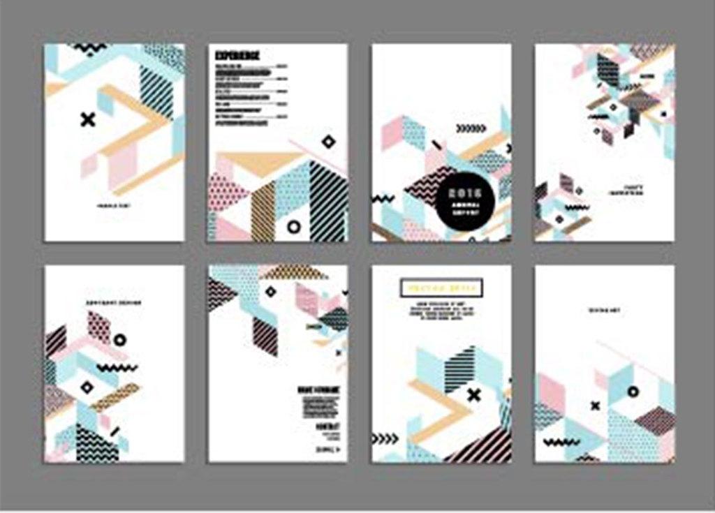 孟菲斯风格小清新几何素材海报书籍封面排版ai eps源文件图片