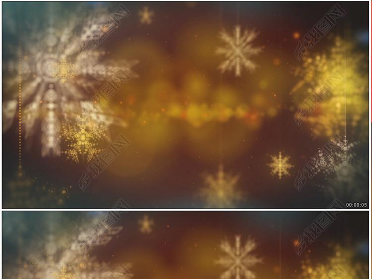 3D雪花旋转舞台晚会广告宣传片头背景视频