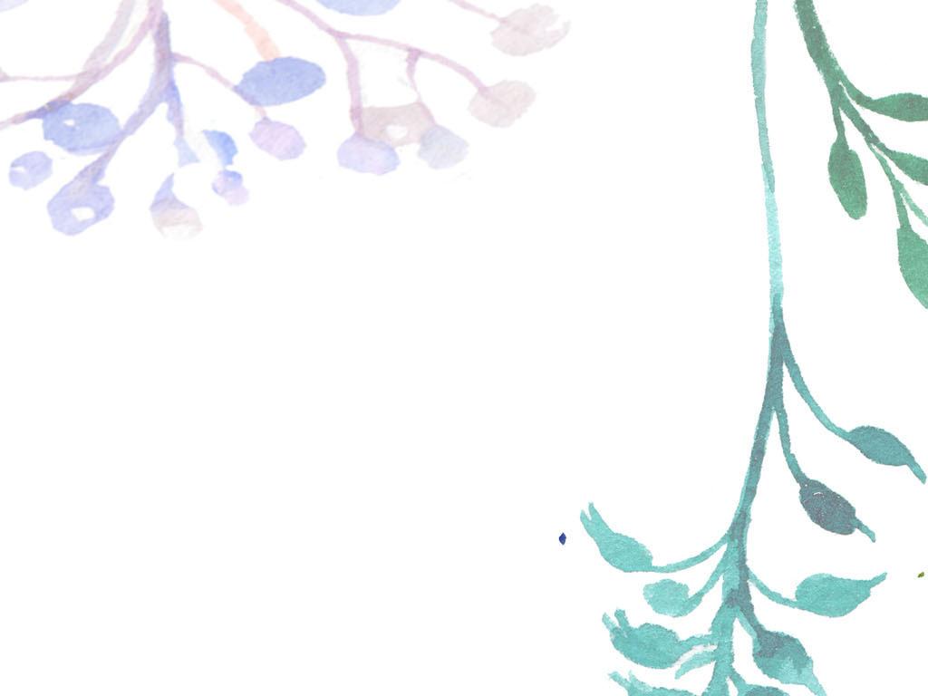 北欧小清新手绘水彩卡通花朵田园壁画背景墙