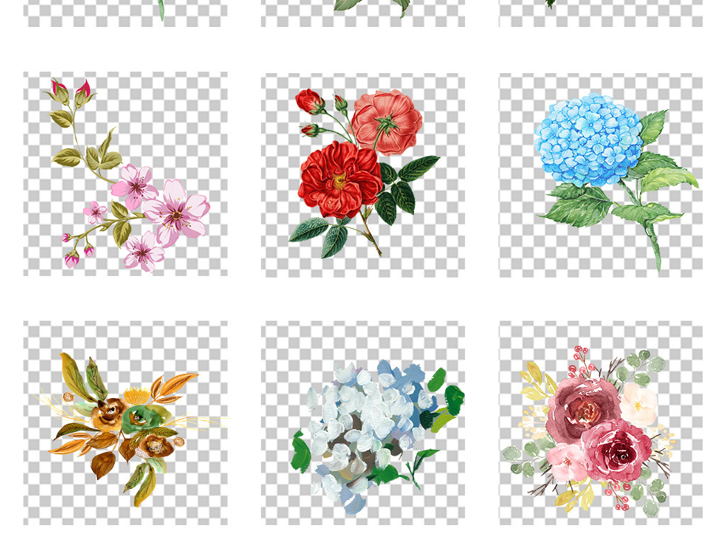 小清新水彩手绘鲜花花卉花艺png素材