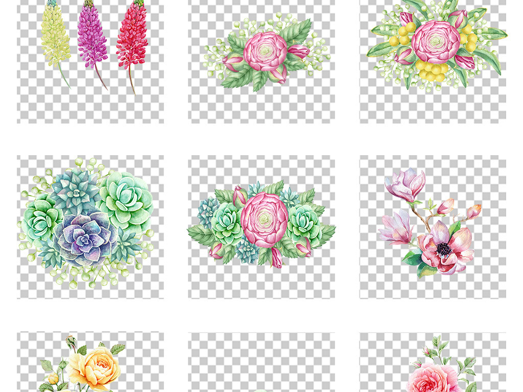 小清新水彩手绘鲜花花卉花艺png素材图片