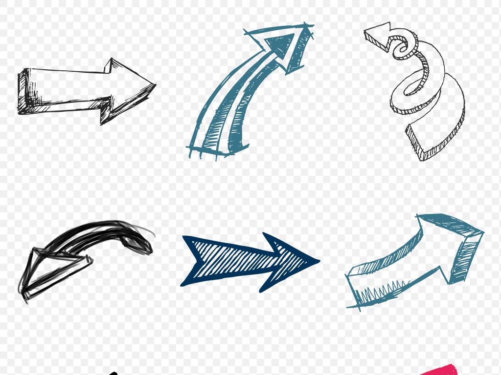 卡通手绘箭头海报素材背景png免扣透明设计图片_模板