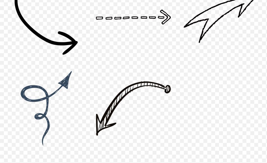 卡通手绘箭头海报素材背景png免扣透明设计