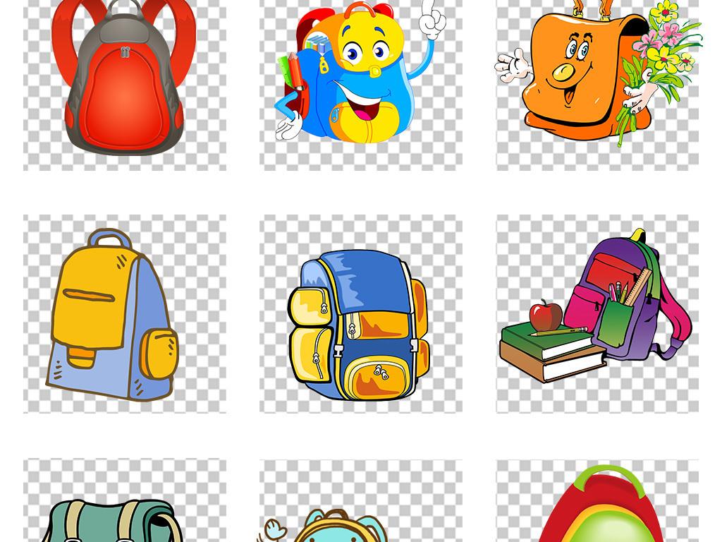 卡通书包手绘儿童背书包png免扣素材
