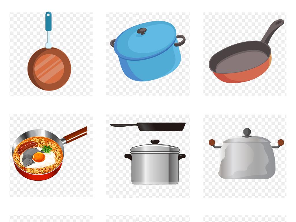 卡通手绘厨房炒菜锅砂锅汤锅png免扣素材