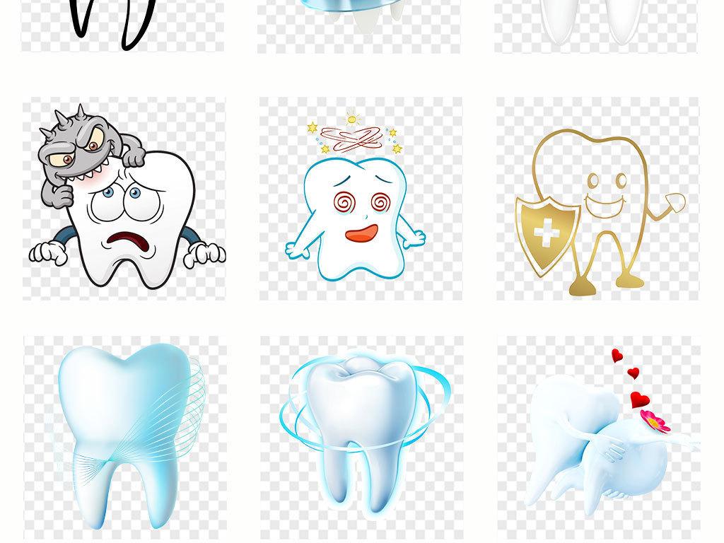 手绘卡通牙齿牙刷刷牙的人海报背景png素材