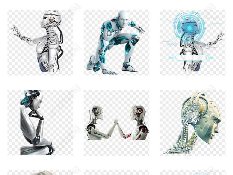 未来科技人工智能电子科技智能机器人png背景素材