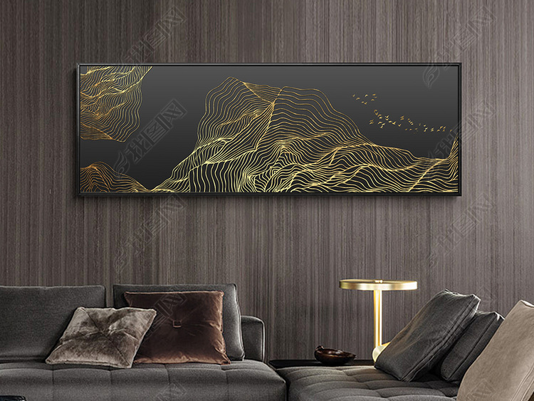 新中式现代简约抽象金色山水床头装饰画