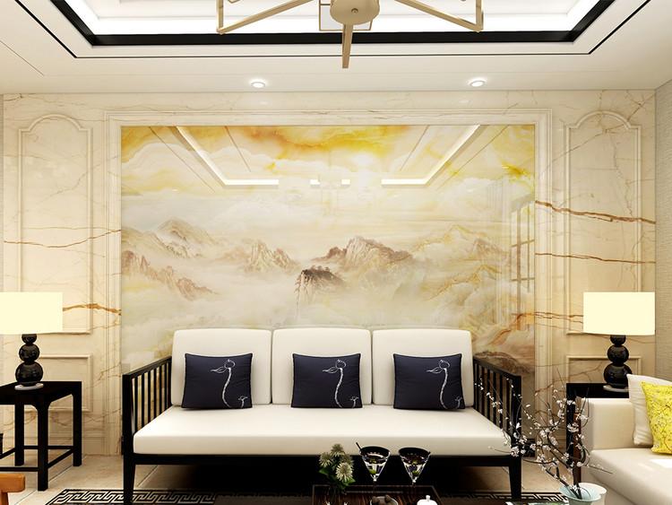 新中式山水石纹背景墙