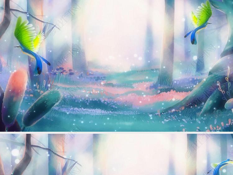 唯美梦幻森林小鸟光影粒子LED大屏幕视频