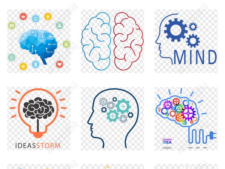 创意头脑风暴大脑创意思维人脑png商务素材