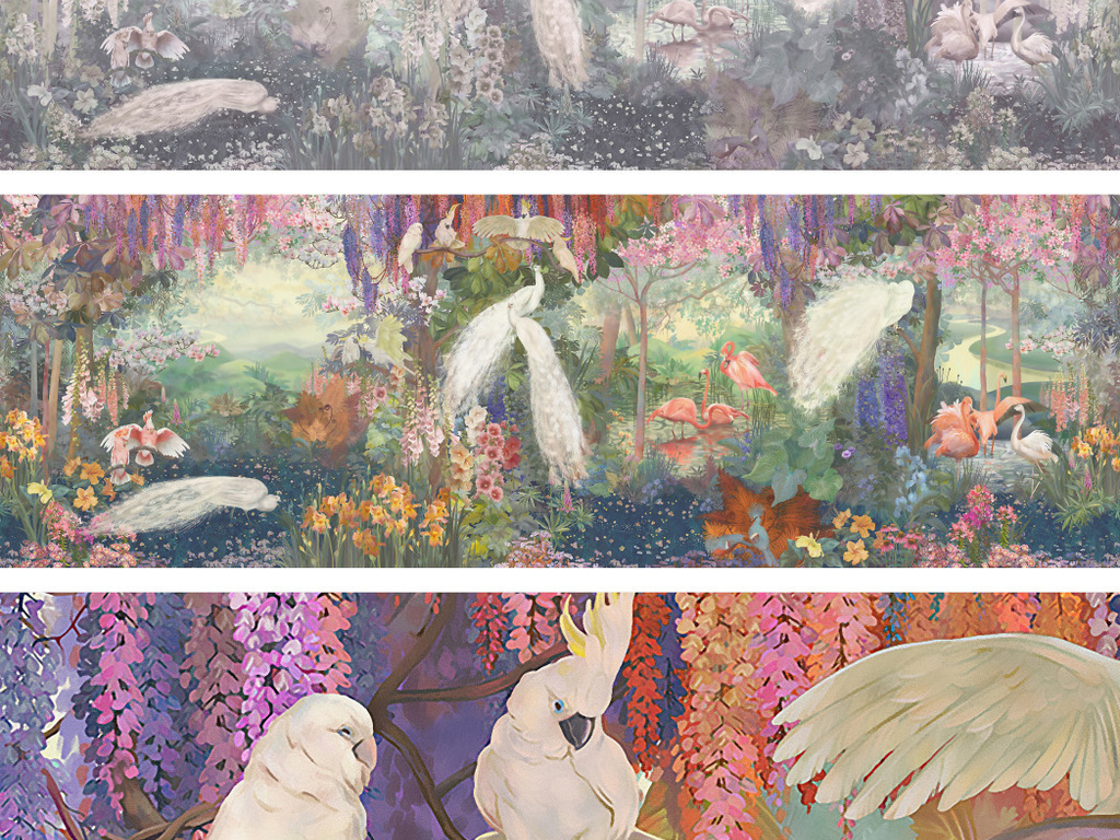 唯美手绘风景背景墙白孔雀鸟语花香花鸟玉兰