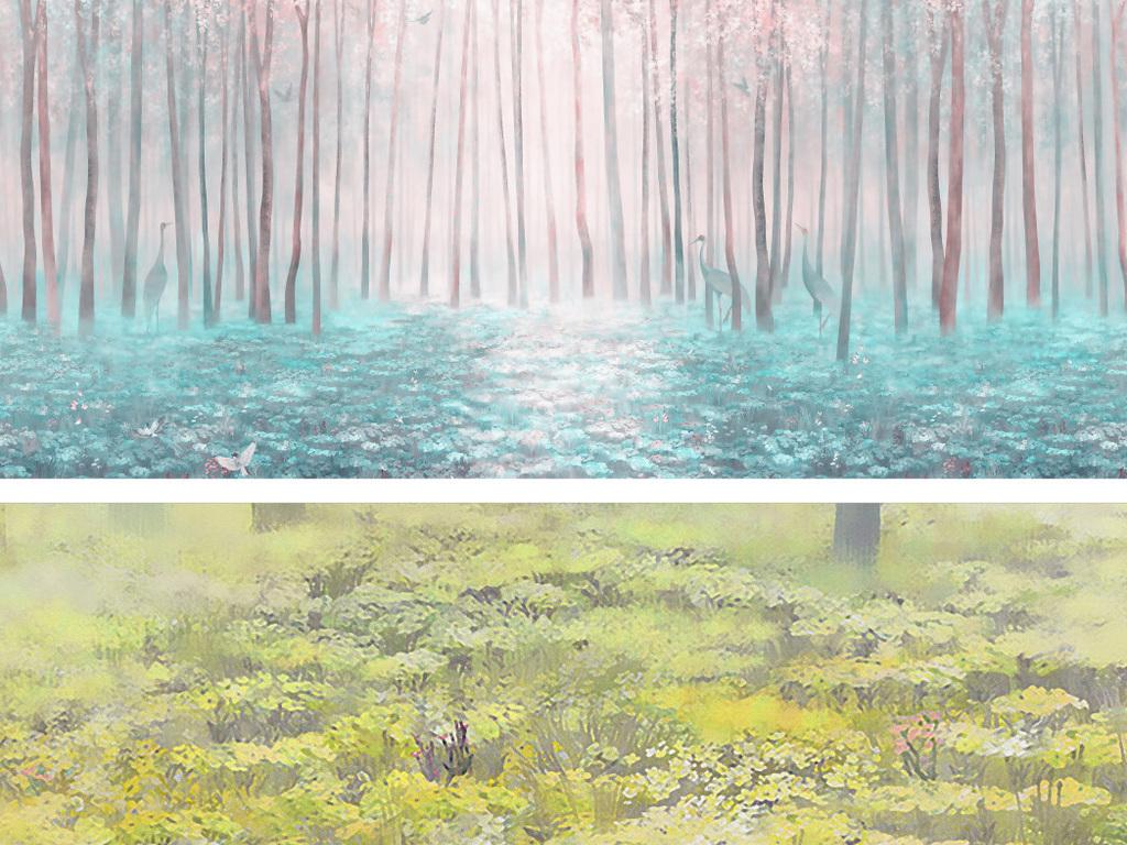 唯美风景森林手绘树林手绘风景背景墙