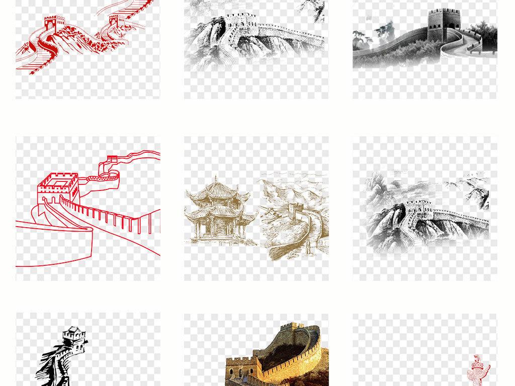 卡通手绘北京长城旅游景点png海报素材