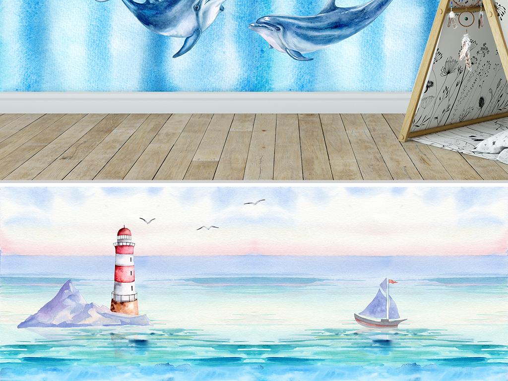 背景墙 电视背景墙 手绘电视背景墙 > 水彩海上风景儿童房背景墙
