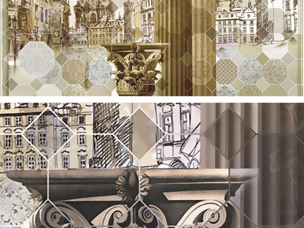 手绘建筑背景墙罗马柱欧式古建筑抽象建筑