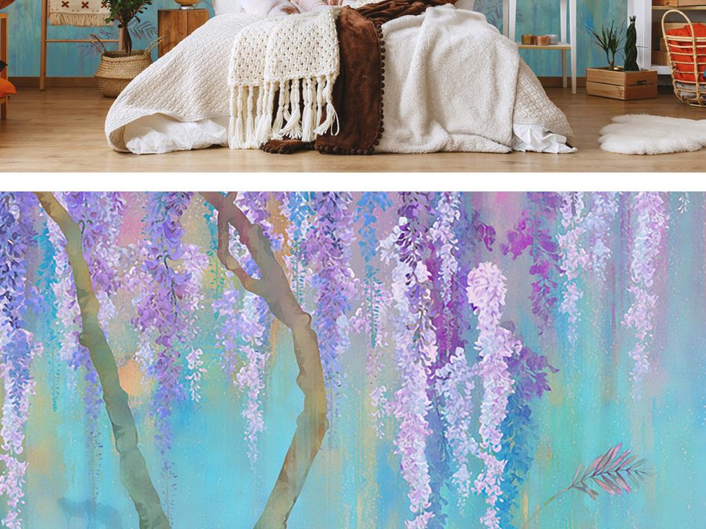 水彩紫藤花唯美花卉手绘花卉手绘背景墙紫藤