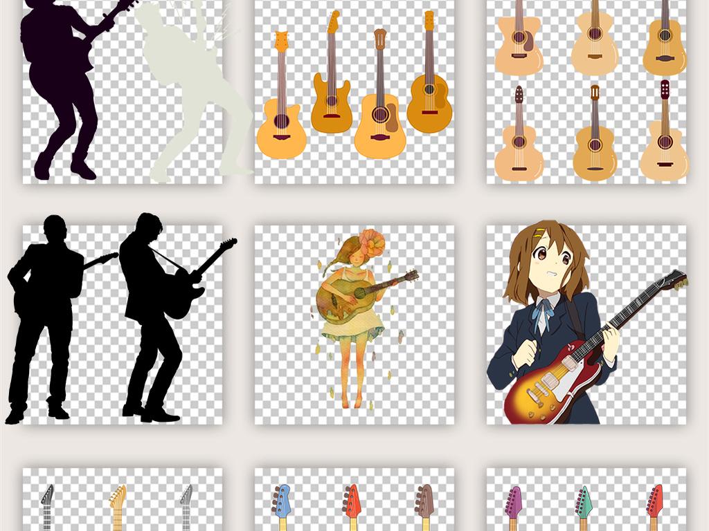 卡通手绘涂鸦乐器电吉他木吉他png素材