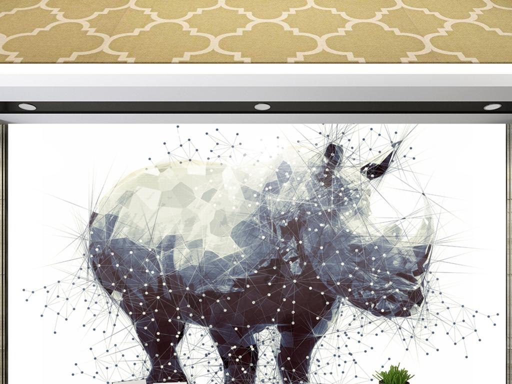 几何犀牛线条手绘