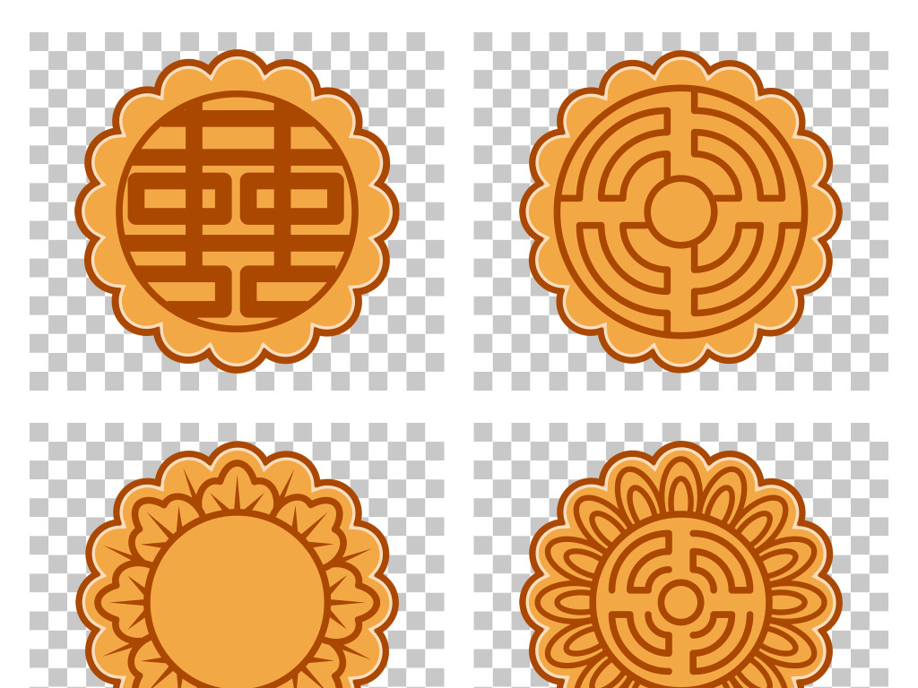 免抠元素 节日素材 中秋节 > 中式传统月饼花纹图案png素材  素材图片