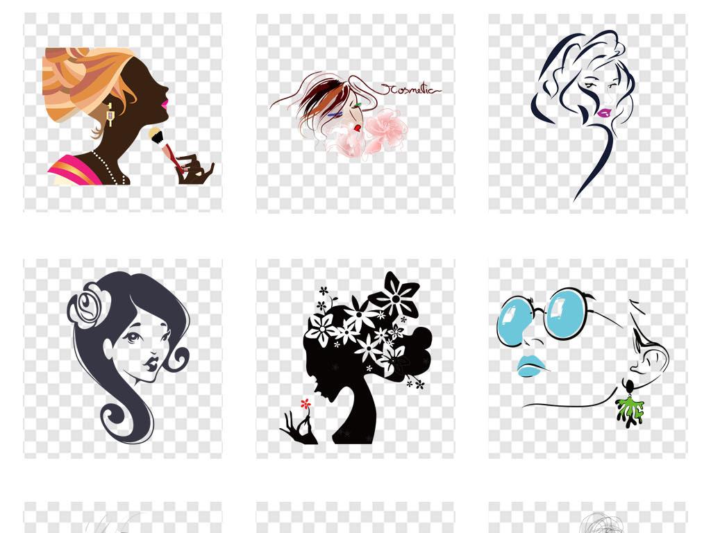 美发卡通美女人物头像剪影海报png素材