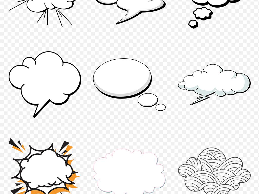 可爱卡通手绘花纹线描云朵海报素材背景png