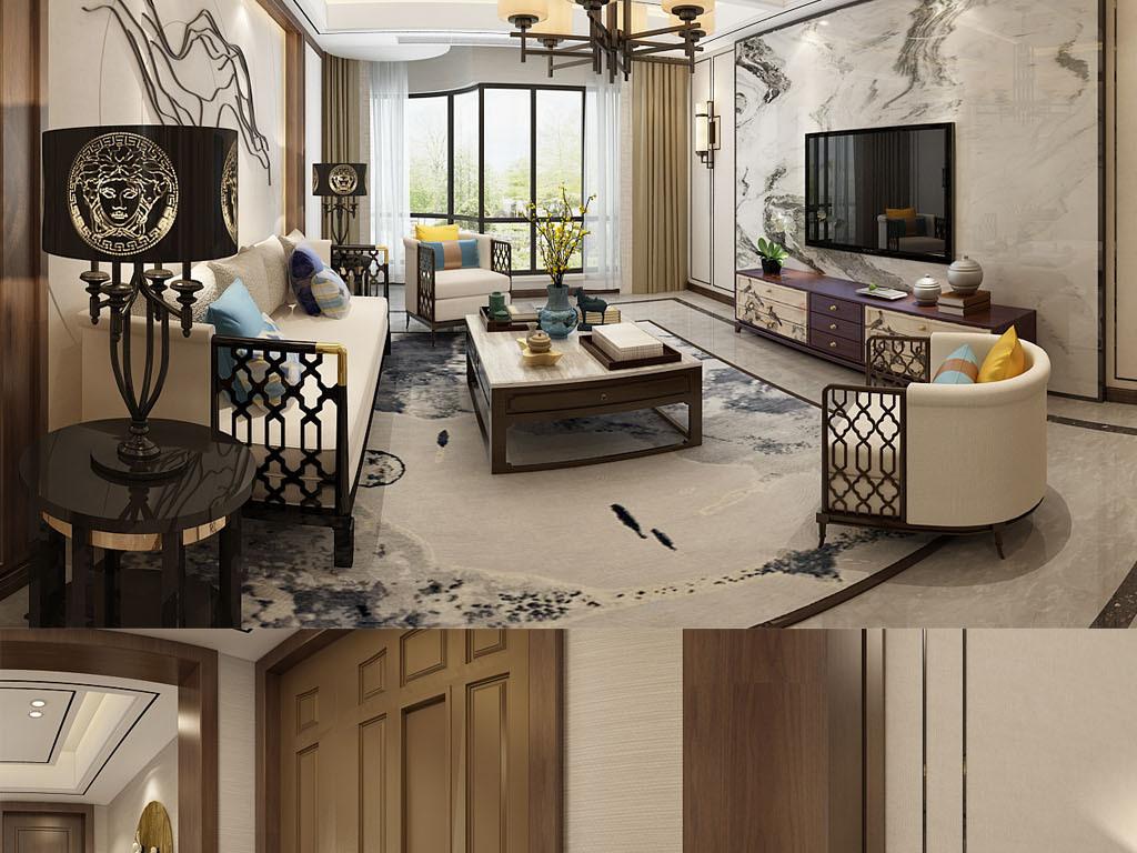 中式客厅3d效果图