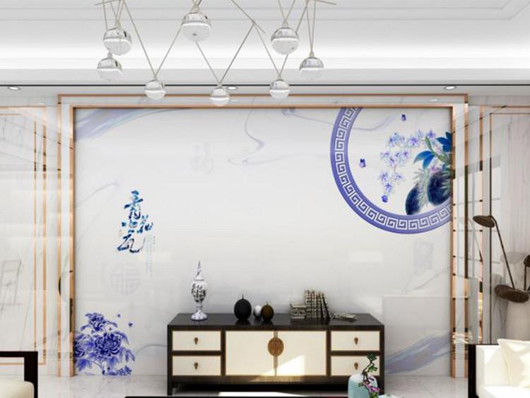新中式青花瓷电视背景墙