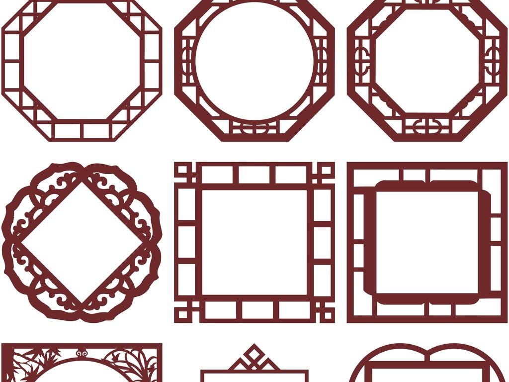中式古典边框复古边框镂空花纹花边边框外框图片
