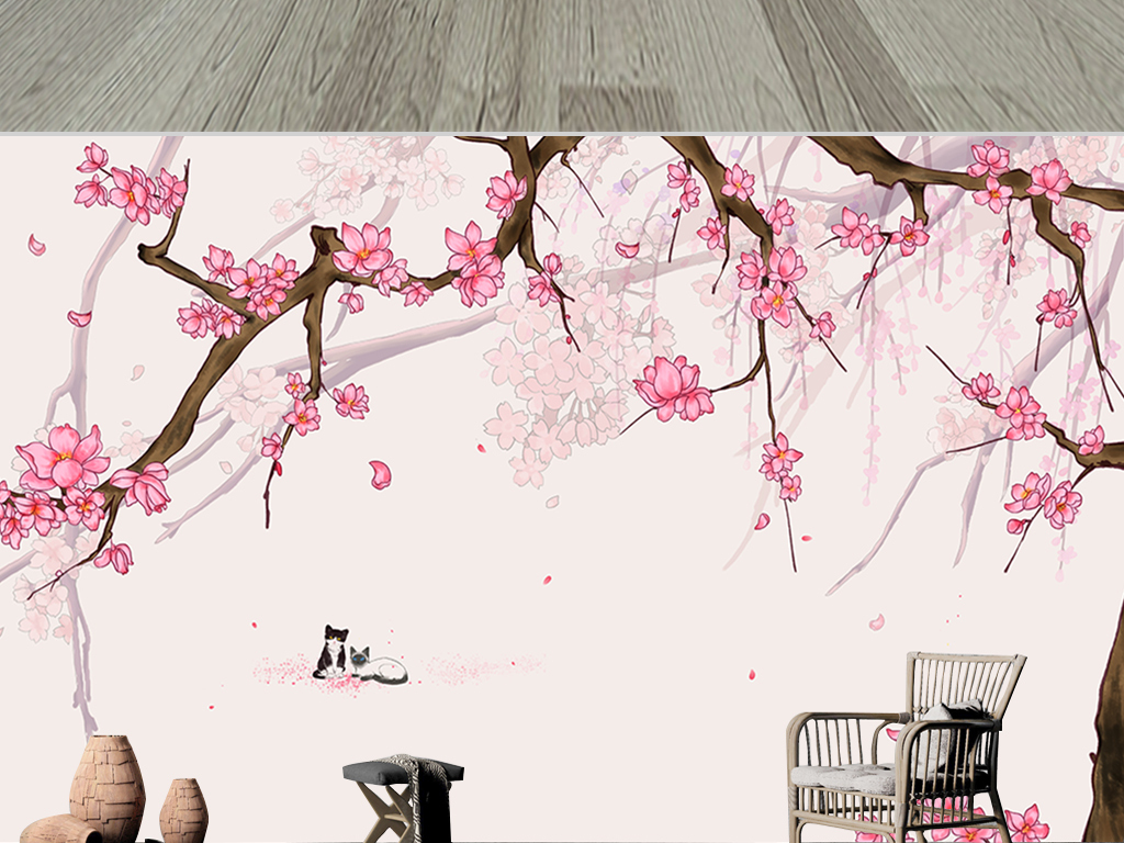 背景墙 电视背景墙 手绘电视背景墙 > 浪漫粉色诗情画意春景花开电视
