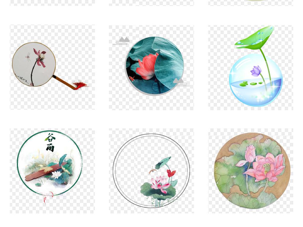 免抠元素 自然素材 花卉 > 中国风圆形水墨山水建筑荷花花卉风景png