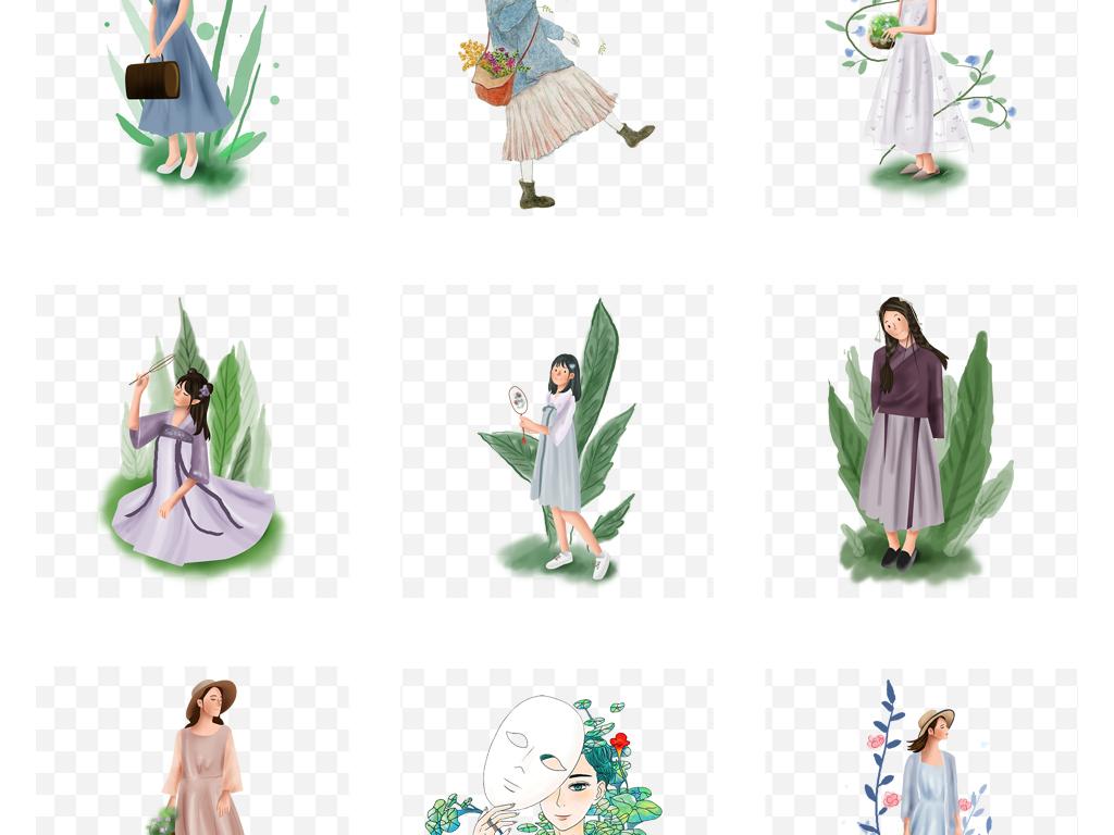手绘彩绘卡通森系时尚美女水彩女孩人物插画png图片