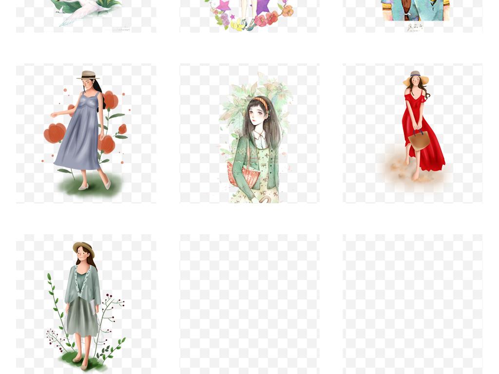 手绘彩绘卡通森系时尚美女水彩女孩人物插画png