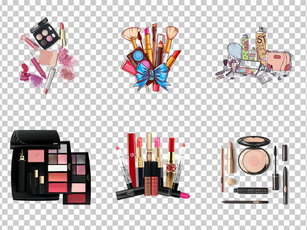 0763化妆品彩妆护肤品眼影盘卡通手绘彩妆化妆品素材免抠