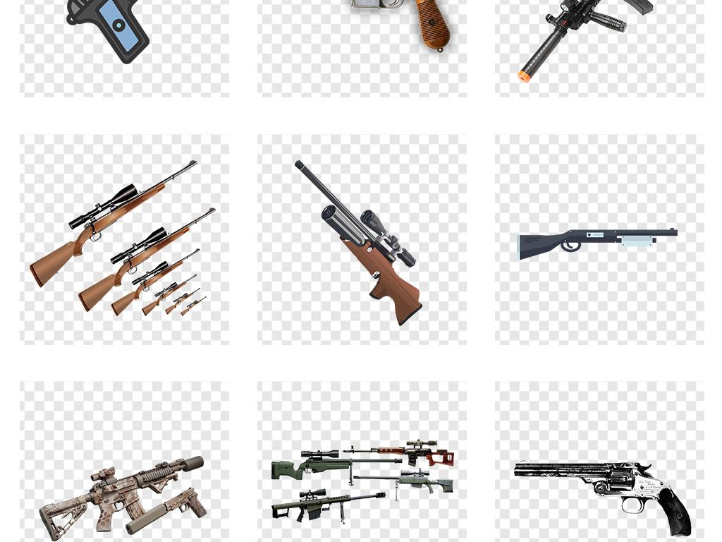 手绘黑白武器手枪支图片素材