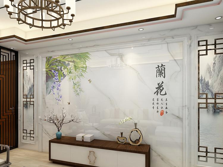 新中式兰花背景墙