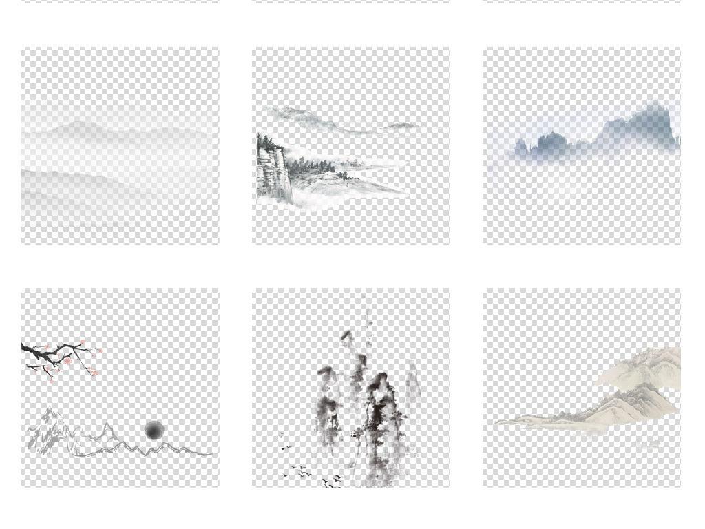 创意古风手绘简笔画水墨山水画免扣背景图片