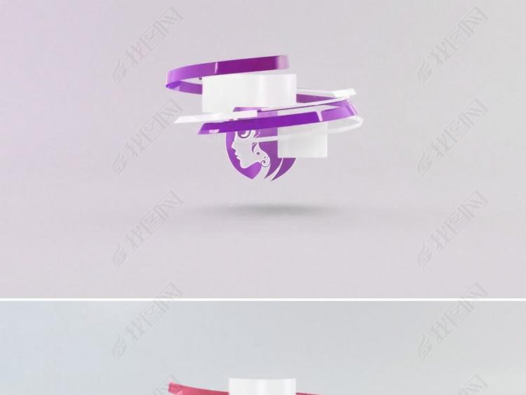 3d质感条纹环绕logo片头ae模板