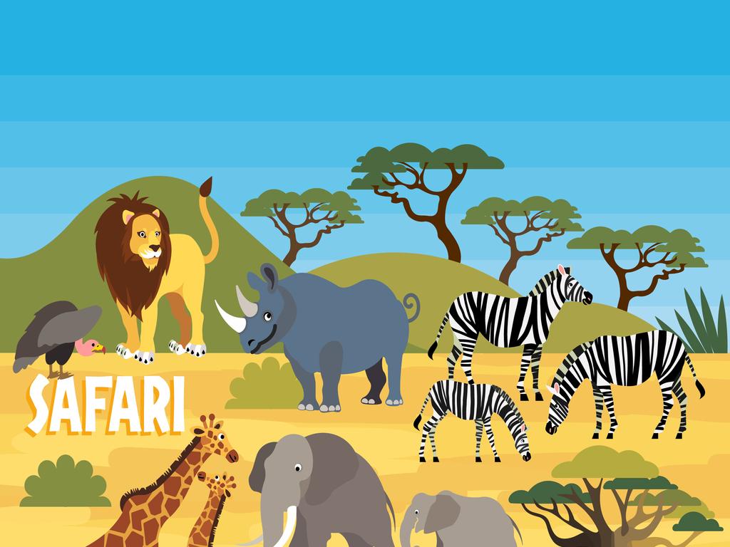 卡通手绘野生动物园动物插画