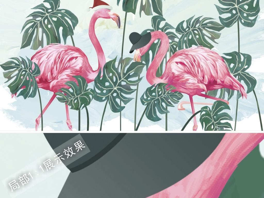 北欧风格手绘水彩绿色植物龟背竹火烈鸟电视背景墙