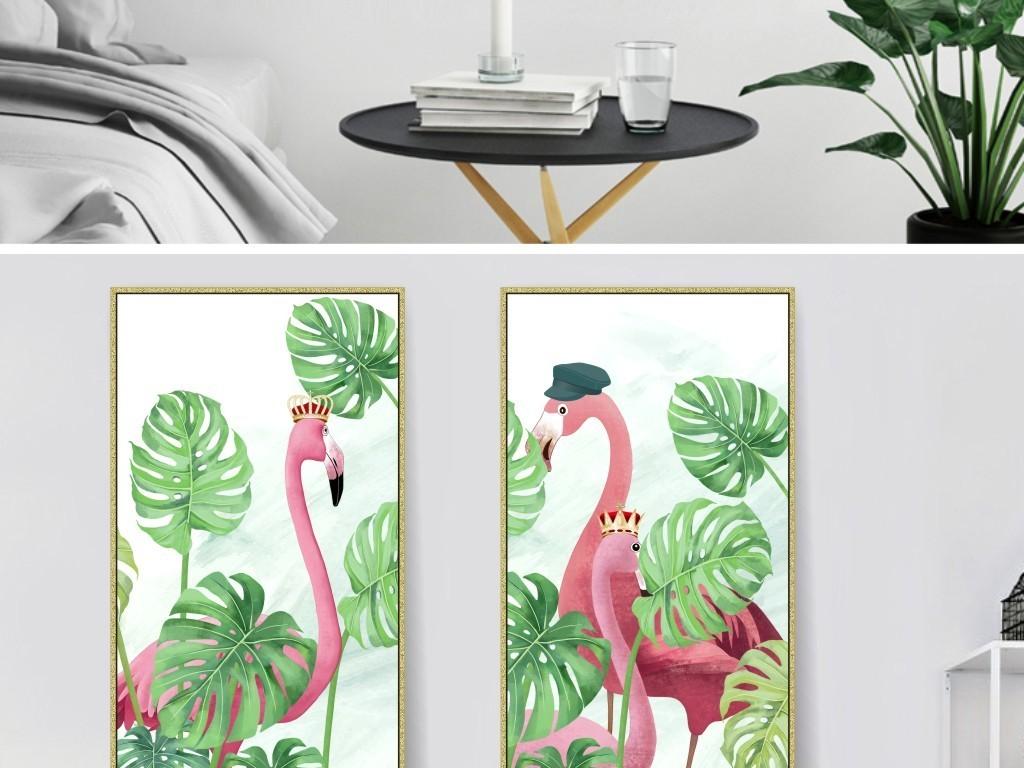 北欧小清新手绘水彩绿色植物龟背竹火烈鸟装饰画