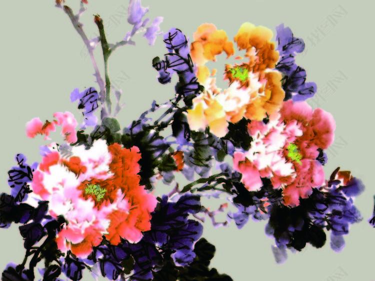 中国山水与花朵画40X70cm.psd