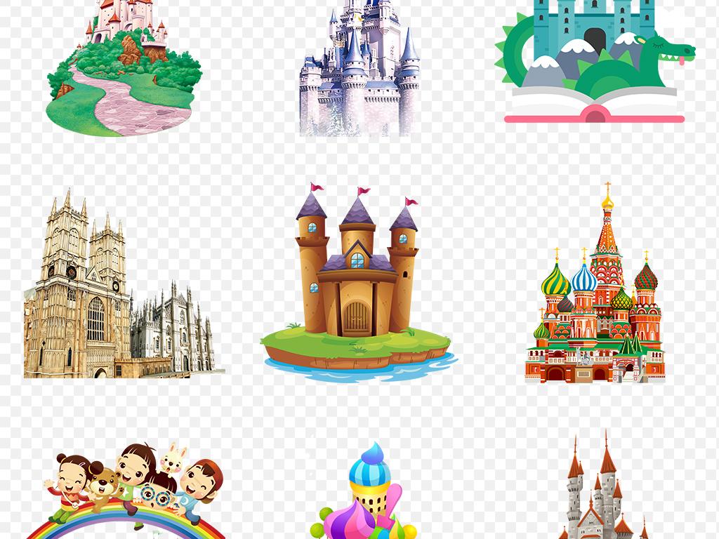 手绘卡通可爱冰雪城堡素材城堡梦幻儿童乐园梦幻背景童话梦幻城堡png